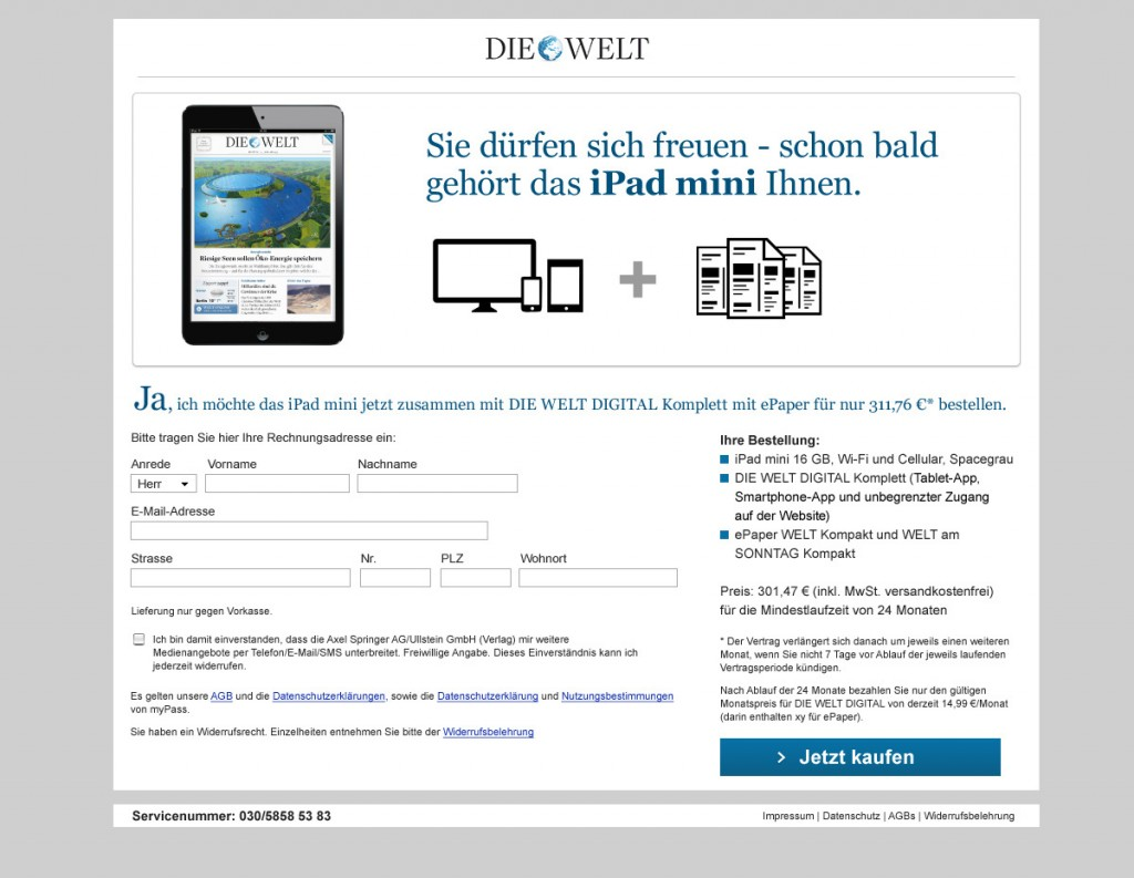 "Design a Landingpage and Banner campaign for german newspaper ""Die Welt"" / 2013"