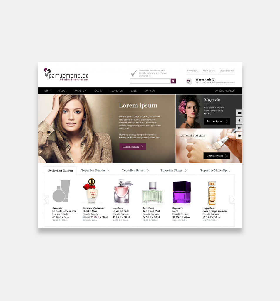 Design for Online Shop Parfuemerie.de